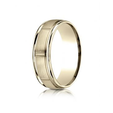 18k Yellow Gold 7mm Comfort-Fit Satin-Finished 8 High Polished Center Cuts and Round Edge Carved Design Band