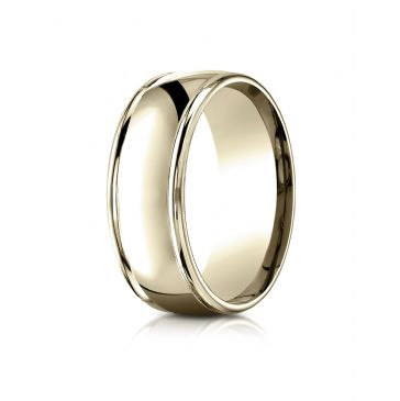 18k Yellow Gold 8mm Comfort-Fit  high polish finish round edge Design band