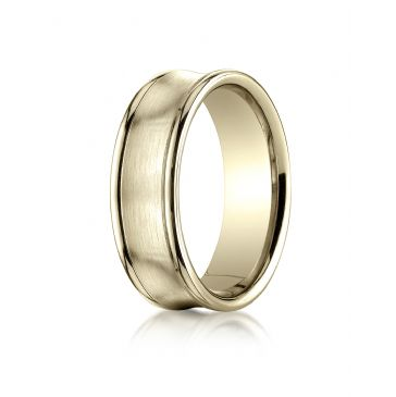 18k Yellow Gold 7.5mm Comfort-Fit Satin-Finished Concave Round Edge Carved Design Band
