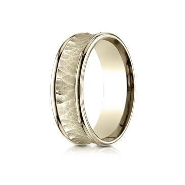 18k Yellow Gold 7.5mm Comfort Fit Hammered Finish Concave Center Design Band