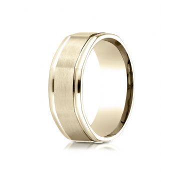 14K Yellow Gold Comfort Fit 8mm High Polish Round Edge Satin Finish Octagonal Center Design Band