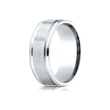 18k White Gold Comfort Fit 8mm High Polish Round Edge Satin Finish Octagonal Center Design Band