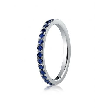 14k White Gold 2mm Pave Set  Blue Sapphire Eternity Ring