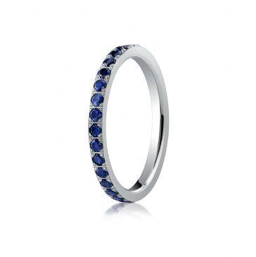 14k White Gold 2mm Pave Set  Blue Sapphire Eternity Ring