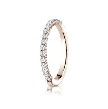 14k Rose Gold 2mm high polish Shared Prong 16 Stone Diamond Ring (.32)