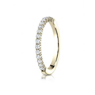 14k Yellow Gold 2mm high polish Shared Prong 16 Stone Diamond Ring (.32)
