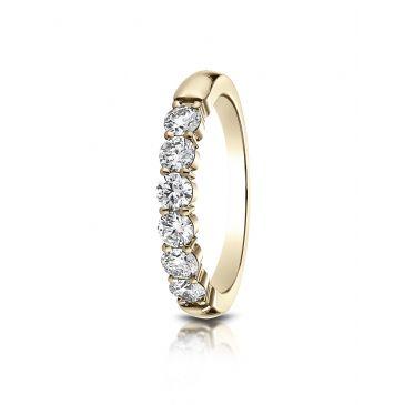 14k White Gold 3mm high polish Shared Prong 6 Stone Diamond Ring (.66)