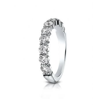 14k White Gold 3mm high polish Shared Prong 9 Stone Diamond Ring (.99)