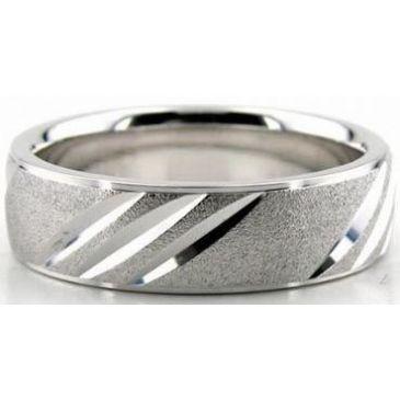 14K Gold 6.5mm Diamond Cut Wedding Band 619