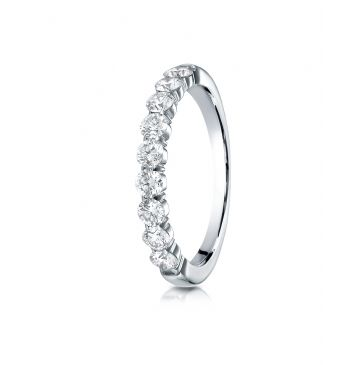 14k White Gold 3mm high polish Shared Prong 9 Stone Diamond Ring (.72)