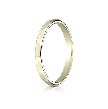 14k Yellow Gold 2mm High Polished Faceted Design Band