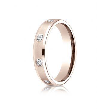 14k Rose Gold 4mm Comfort-Fit High Polish Edge Satin Center Burnish Set 8-Stone Diamond Eternity Ring (.32ct)
