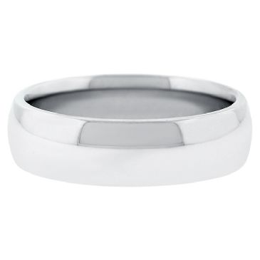 18k White Gold 6mm Comfort Fit Dome Wedding Band Heavy Weight