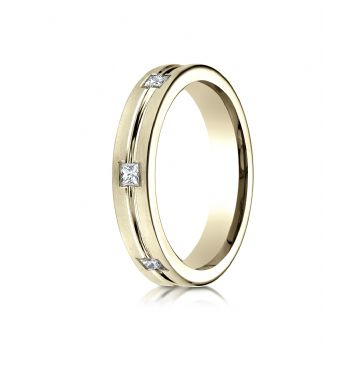 18k Yellow Gold 4mm Comfort-Fit Princess Cut Burnish Set 6-Stone Eternity Ring (.30ct)