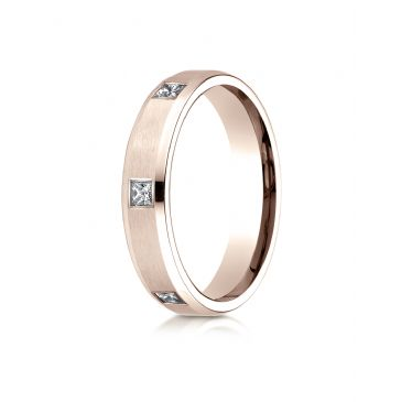 14k Rose Gold 4mm Comfort-Fit Princess Cut Burnish Set 6-Stone Eternity Ring (.30ct)