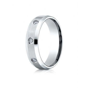 14k White Gold 6mm Comfort-Fit High Polish Edge Satin Center Burnish Set 8 Stone Diamond Eternity Ring (.32ct)