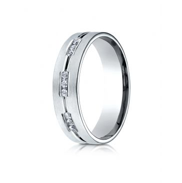 Palladium 6mm Comfort-Fit Etched Channel Set 18-Stone Diamond Eternity Ring (.36ct)