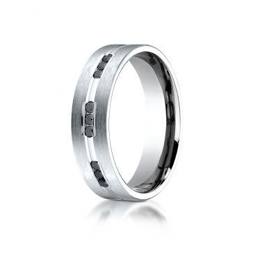 14k White Gold 6mm Satin Finish Channel Set 9 Stone Black Diamond Ring (.18)