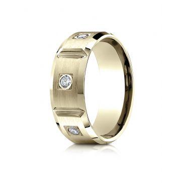18k Yellow Gold 8mm Comfort-Fit Burnish Set 6-Stone Diamond Eternity Ring (.50ct)