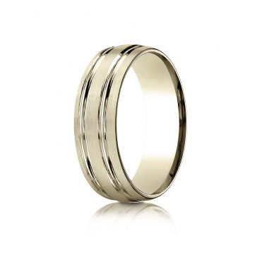 10k Yellow Gold 7mm Comfort-Fit Satin-Finished with Parallel Grooves Carved Design Band