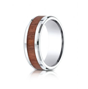 Cobaltchrome 8mm Comfort-Fit Drop Beveled Rosewood Inlay Cobalt Ring