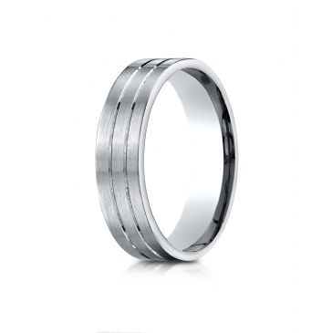 18k White Gold 6mm Comfort-Fit Satin-Finished with Parallel Center Cuts Carved Design Band