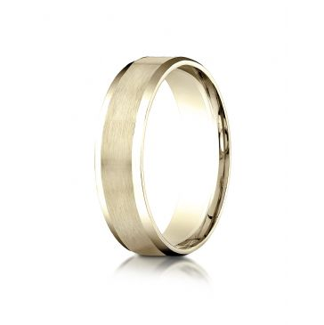 10k Yellow Gold 6mm Comfort-Fit Satin-Finished with High Polished Beveled Edge Carved Design Band