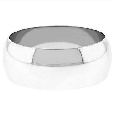 18k White Gold 8mm Dome Wedding Band Medium Weight