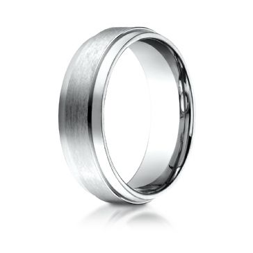 14k White Gold 7mm Comfort-Fit Satin-Finished with High Polished Drop Edge Carved Design Band