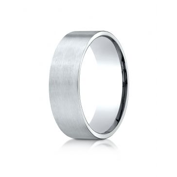 18k White Gold 7mm Comfort-Fit Satin-Finished Carved Design Band