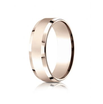 14k Rose Gold 7mm Comfort-Fit High Polished Carved Design Band