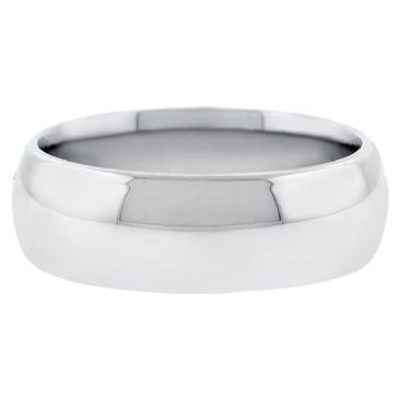 18k White Gold 7mm Comfort Fit Dome Wedding Band Heavy Weight