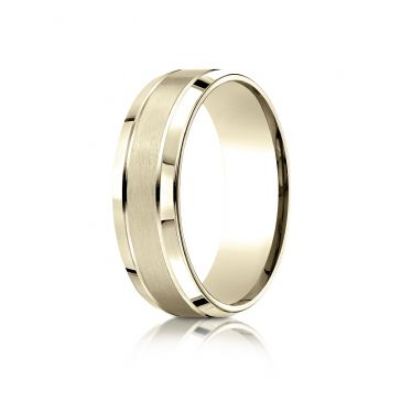 18k Yellow Gold 7mm Comfort-Fit Satin-Finished High Polished Beveled Edge Carved Design Band