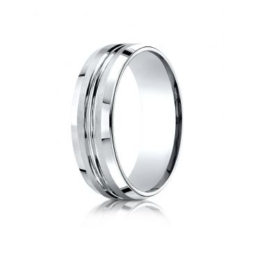 14k White Gold 7mm Comfort-Fit Satin-Finished with High Polished Cut Carved Design Band