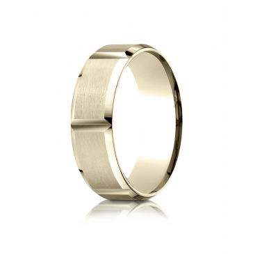 18k Yellow Gold 7mm Comfort-Fit Satin-Finished Grooves Carved Design Band