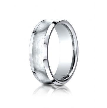 14k White Gold 7.5mm Comfort-Fit Satin-Finished Concave beveled edge  Design Band