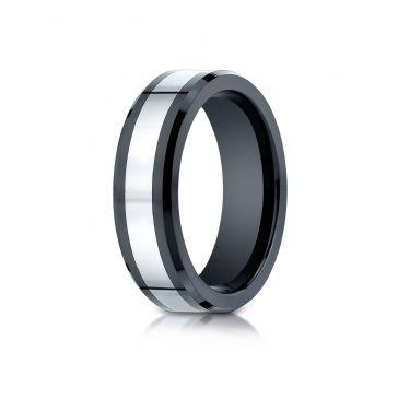 Cobaltchrome7mm Comfort-Fit Ceramic Beveled Edge Design Ring