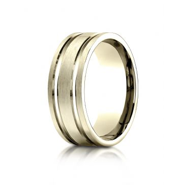 18k Yellow Gold 8mm Comfort-Fit Satin-Finished with Parallel Grooves Carved Design Band