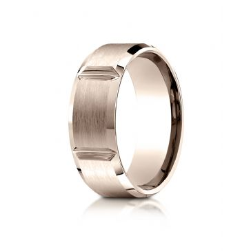 14k Rose Gold 8mm Comfort-Fit Satin-Finished Grooves Carved Design Band