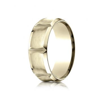 18k Yellow Gold 8mm Comfort-Fit Satin-Finished Beveled Edge Concave with Horizontal Cuts Carved Design Band