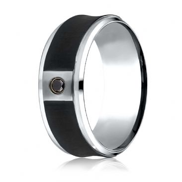 Cobaltchrome 9 mm Comfort Fit Blackened Concave Diamond Ring (.06ct)
