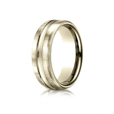 14k Yellow Gold 7.5mm Comfort-Fit Satin-Finished High Polished Center Cut Carved Design Band