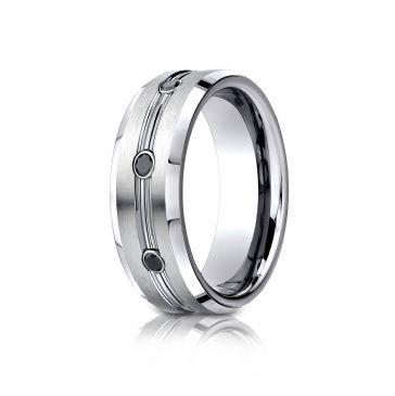Cobaltchrome 7.5mm Comfort-Fit  3-Stone Black Diamond Design Ring (.20ct)