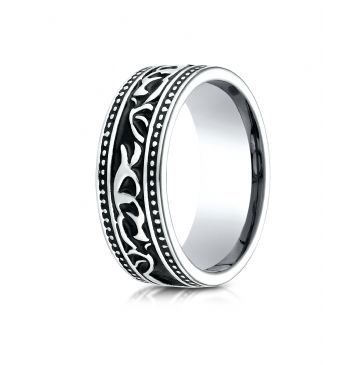 Cobaltchrome 8mm Comfort Fit Scroll Pattern Ring
