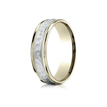 14k Two-Toned 6mm Comfort-Fit Hammered-Finished with Milgrain Carved Design Band