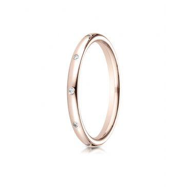 14k Rose Gold 2mm  Comfort-Fit Burnish Set 8-Stone Diamond Eternity Ring (.10ct)