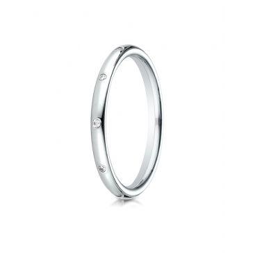 14k White Gold 2mm  Comfort-Fit Burnish Set 8-Stone Diamond Eternity Ring (.10ct)