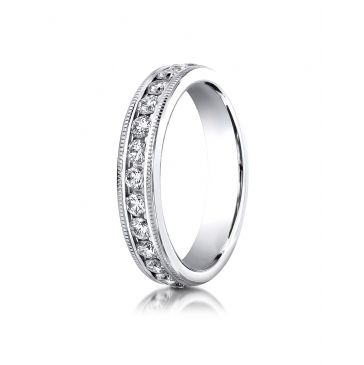 Platinum Gold 4mm Channel Set  Eternity Ring with Milgrain.