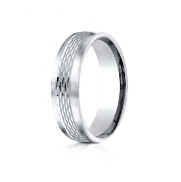 Platnium 6.5mm Comfort-Fit Mesh Center Satin Finish Edge Design Band