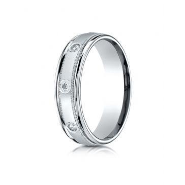 14k White Gold 6mm Comfort-Fit burnish Set 8-Stone Diamond Eternity Ring with Milgrain (.32ct)